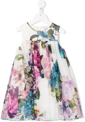 Lesy Floral-Print Pleated Empire Dress