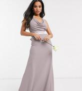 TFNC Petite Petite Bridesmaids cowl neck bow back maxi dress in grey