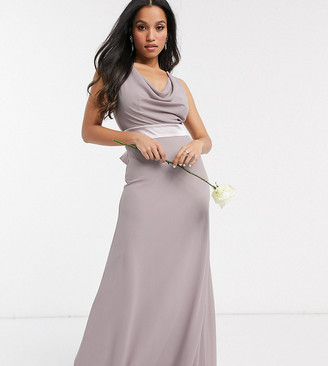 TFNC Petite Bridesmaids cowl neck bow back maxi dress in grey