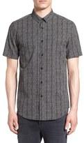 Topman Trim Fit Short Sleeve Print Shirt