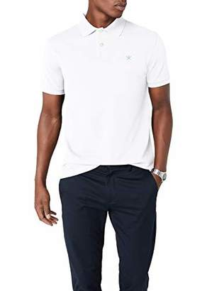 Hackett Clothing Men's Tailored Logo Polo Shirt, (White/Blue)