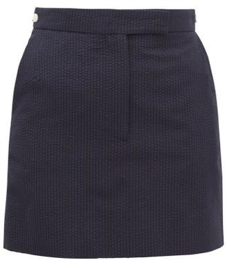 Thom Browne Tonal-striped Wool Seersucker Mini Skirt - Navy