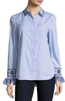 Tory Burch Paige Ombre-Striped Embroidered Button-Front Shirt