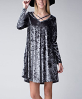 Jane Gray Cross-Neck Velvet Shift Dress