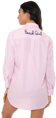 MC2 Saint Barth Pink Striped Shirt With Beach Girl Embroidery