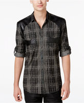 INC International Concepts Men's Bleach Faux-Leather Plaid Long-Sleeve Shirt, Only at Macy's