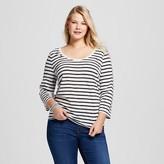 Ava & Viv Women's Plus Size Striped 3/4 Sleeve Tee