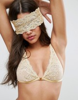 Asos BRIDAL Paloma Metallic Gold Embroidered Lace Blindfold