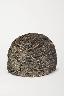 Saint Laurent Silk-blend Lame Turban - Gold