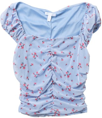 Abound Floral Cap Sleeve Ruched Blouse