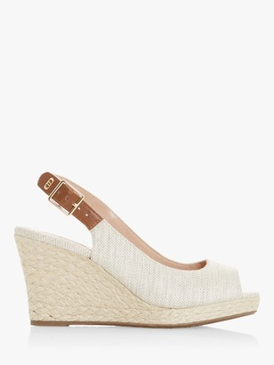 Dune Kicks 2 Wide Fit Fabric Espadrille Wedge Heel Sandals, Natural
