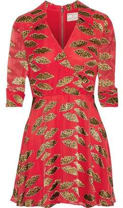 Alice + Olivia Catina Wrap-effect Appliqued Chiffon Mini Dress