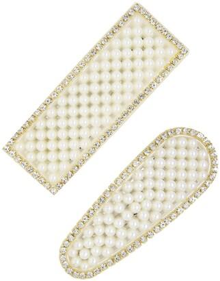 Ettika 2-Pack Statement Imitation Pearl & Crystal Barrettes