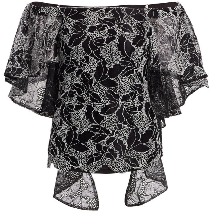 HALSTON Womens Off Shoulder Pleated Cape Top