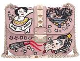 Valentino Lock Small beige beaded leather shoulder bag