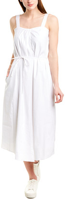 Vince Drape Neck Linen-Blend Dress