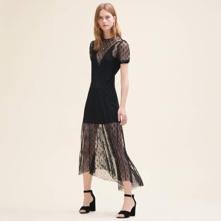 Maje Long dress with embroidery and lace