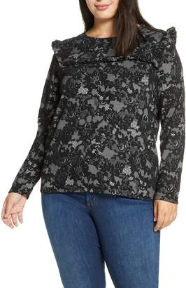 MICHAEL Michael Kors Glam Lace Pattern Tie Neck Blouse