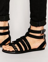 Asos Gladiator Sandals in Black Snakeskin Effect Leather With Studs