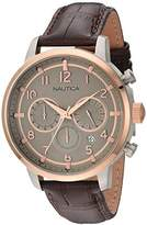 Nautica Men's 'NCT 15 CHRONO' Quartz Stainless Steel and Leather Casual Watch, Color:Brown (Model: NAD17517G)