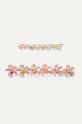 LELET NY Set Of Two Rhodium-plated Freshwater Pearl Hair Slides