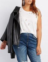 Charlotte Russe Plus Size Distressed Tank Top