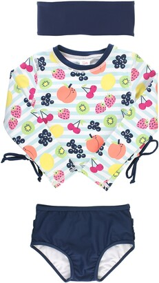 RuffleButts Fruit Fiesta Two-Piece Rashguard Swimsuit & Head Wrap Set