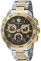 Versace Men's 'Dylos Chrono' Swiss Quartz Stainless Steel Casual Watch, Color:Two Tone (Model: VQC100016)