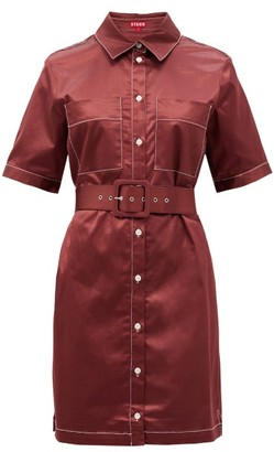 STAUD Bentley Cotton-blend Satin Shirt Dress - Burgundy