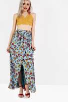 Glamorous Blue Floral Print Wrap Front Maxi Skirt
