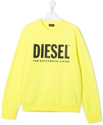 Diesel TEEN Screw Division logo print sweatshirt
