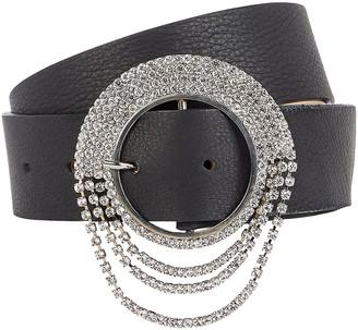 B-Low the Belt Lilia Crystal Buckle Leather Belt