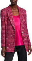 St. John Opulent Textured Tweed Knit Jacket w/ Notch-Collar