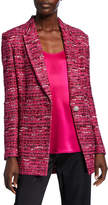 St. John Opulent Textured Tweed Knit Jacket w/ Notch-Collar