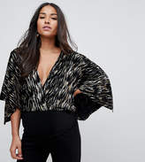 Flounce London Maternity Cape Top with Plunge Front in Crinkle Metallic Velvet