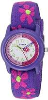 Timex Girls T89022 Time Machines Purple Floral Elastic Fabric Strap Watch