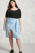 Forever 21 FOREVER 21+ Plus Size Pinstripe Wrap Skirt