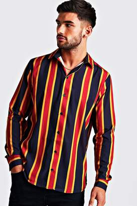 boohoo Navy & Gold Long Sleeve Stripe Shirt