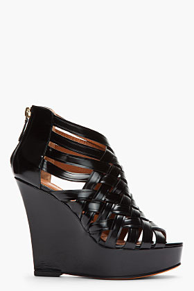 Givenchy Black Leather Woven Spazzolato Wedges