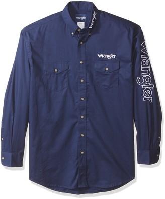 Wrangler Men's Western Logo Long Sleeve Snap Front Shirt
