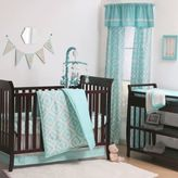 The Peanut Shell Tile Crib Bedding Collection in Teal