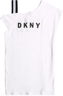 DKNY Asymmetrical Cotton Interlock Dress