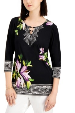 JM Collection Hardware Embellished Printed Top, Created for Macy's