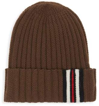 Burberry Icon-Stripe Ribbed Wool Knit Beanie