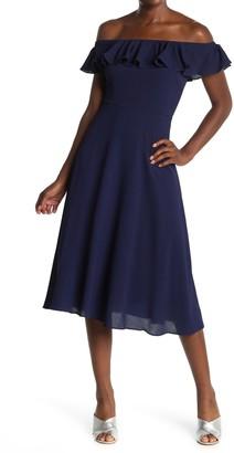 Betsey Johnson Off-the-Shoulder Pebble Crepe Dress (Regular & Plus Size)