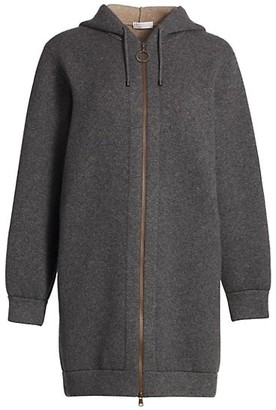 Brunello Cucinelli Cashmere-Blend Long-Line Zip Hooded Cardigan