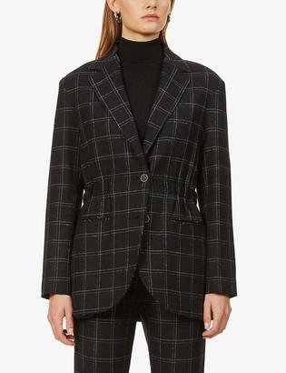 Eleventy Tartan-print elasticated-waistband stretch-wool jacket