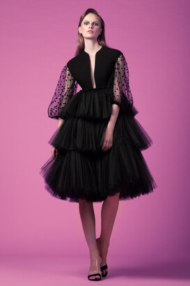 Gemy Maalouf Tiered Tulle Cocktail Dress