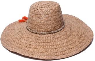 Ale By Alessandra Women's Palapa Large Brim Raffia Floppy Hat with Metallic Sari Trim
