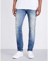 Balmain Distressed Slim-fit Tapered Jeans